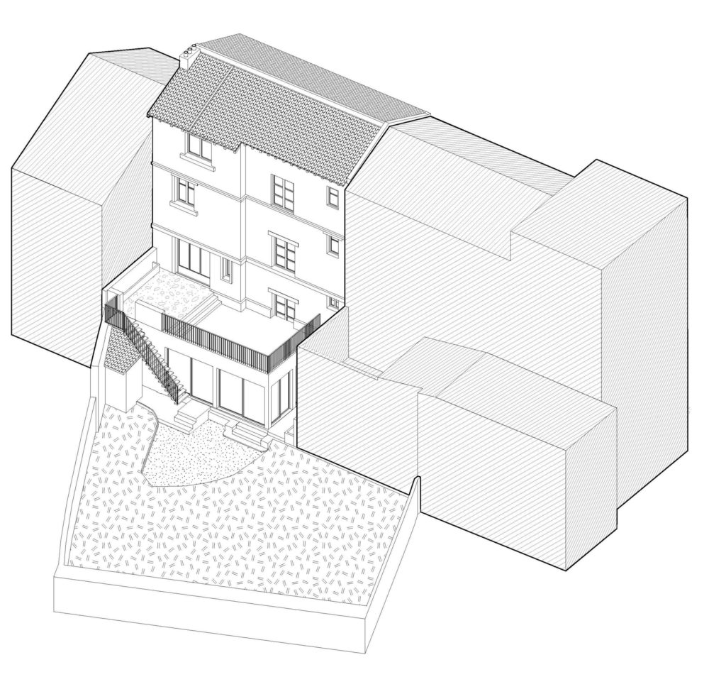 Axonométrie de la maison de ville existante en R+3, vue côté jardin