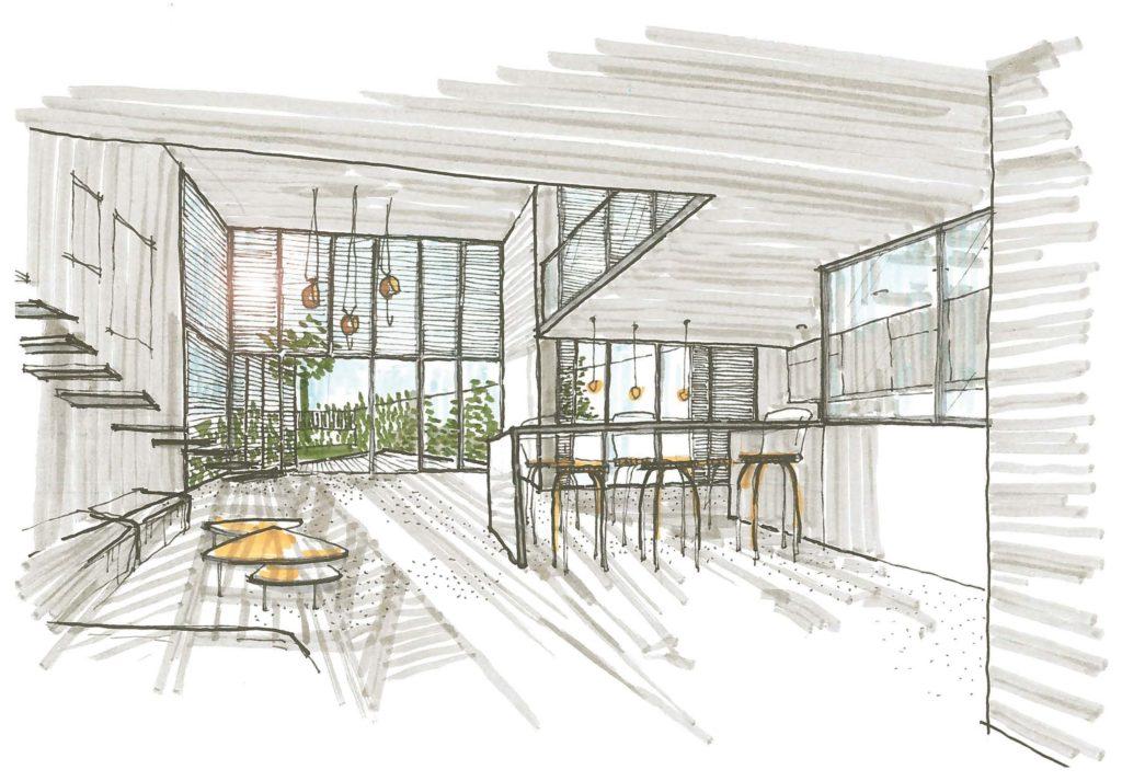 Croquis. Vue depuis la cuisine en regardant vers le séjour à double hauteur sous plafond donnant accès au jardin de la maison de ville, via une grande verrière au claustra métal.