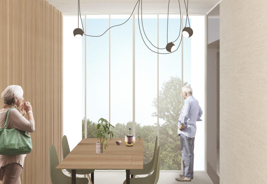 Image de synthèse de la pièce de vie de l'intérieur d'un logement où une grande baie vitrée toute hauteur permet une vue dégagée sur la forêt.