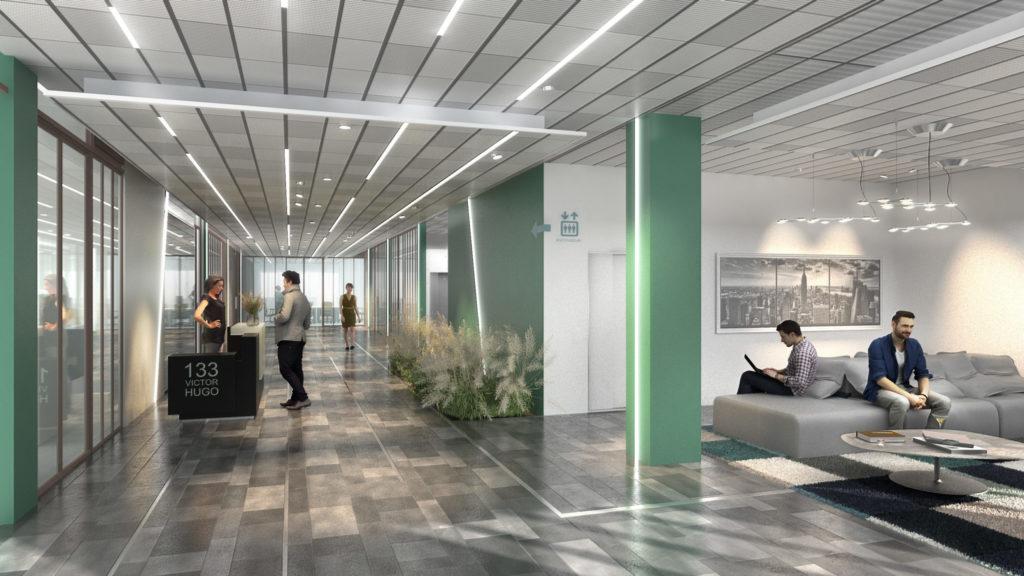Visuel représentant une image de synthèse de l'accueil et espaces communs du bâtiment.