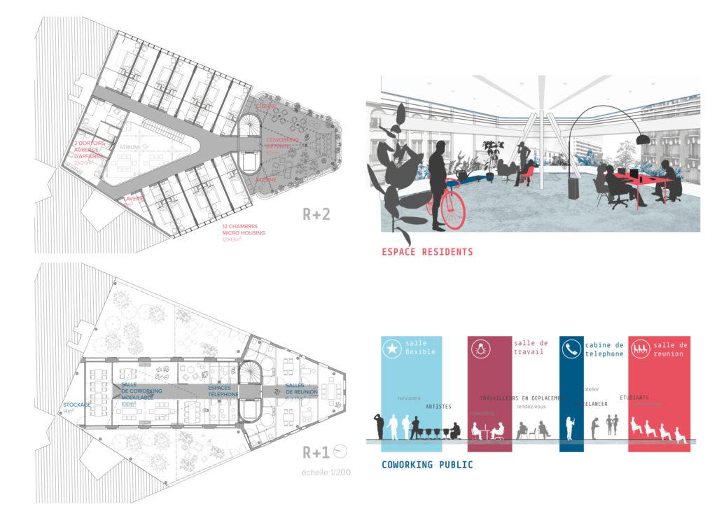 Visuel du plan R+1 montrant les espaces communs : espaces de coworking, salles de travail, salles de réunion etc, et plan R+2 montrant les espaces de repos, les chambre micro-housing et les dortoirs.