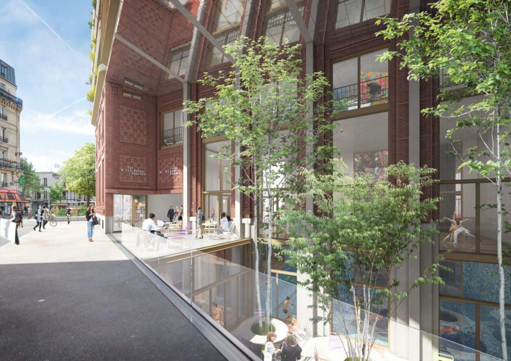 image de synthèse représentant l'entrée du bâtiment depuis la rue et vue en plongée vers le patio et la piscine située au R-1.