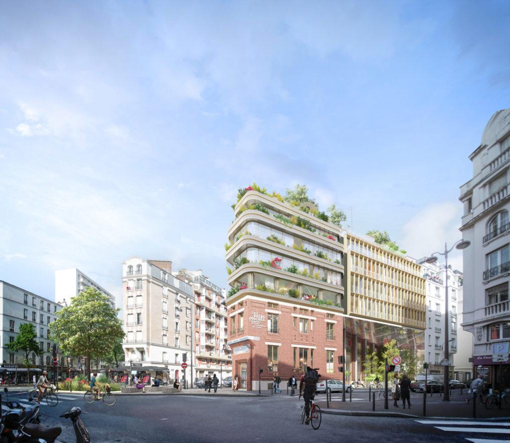 Image de synthèse représentant l'intégration du bâtiment dans son environnement urbain dense. Vue depuis depuis la rue opposée. Façade essentiellement composée de brique et de verre.