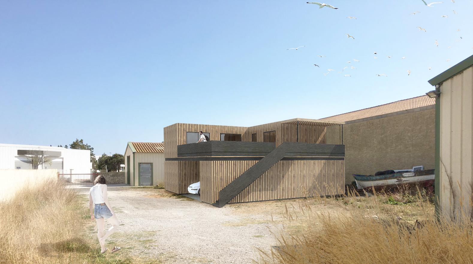 Photomontage du local de stockage et de l'atelier de photographie conçu à partir de 7 containers en quinconce, revêtus d'un bardage bois saturé gris.