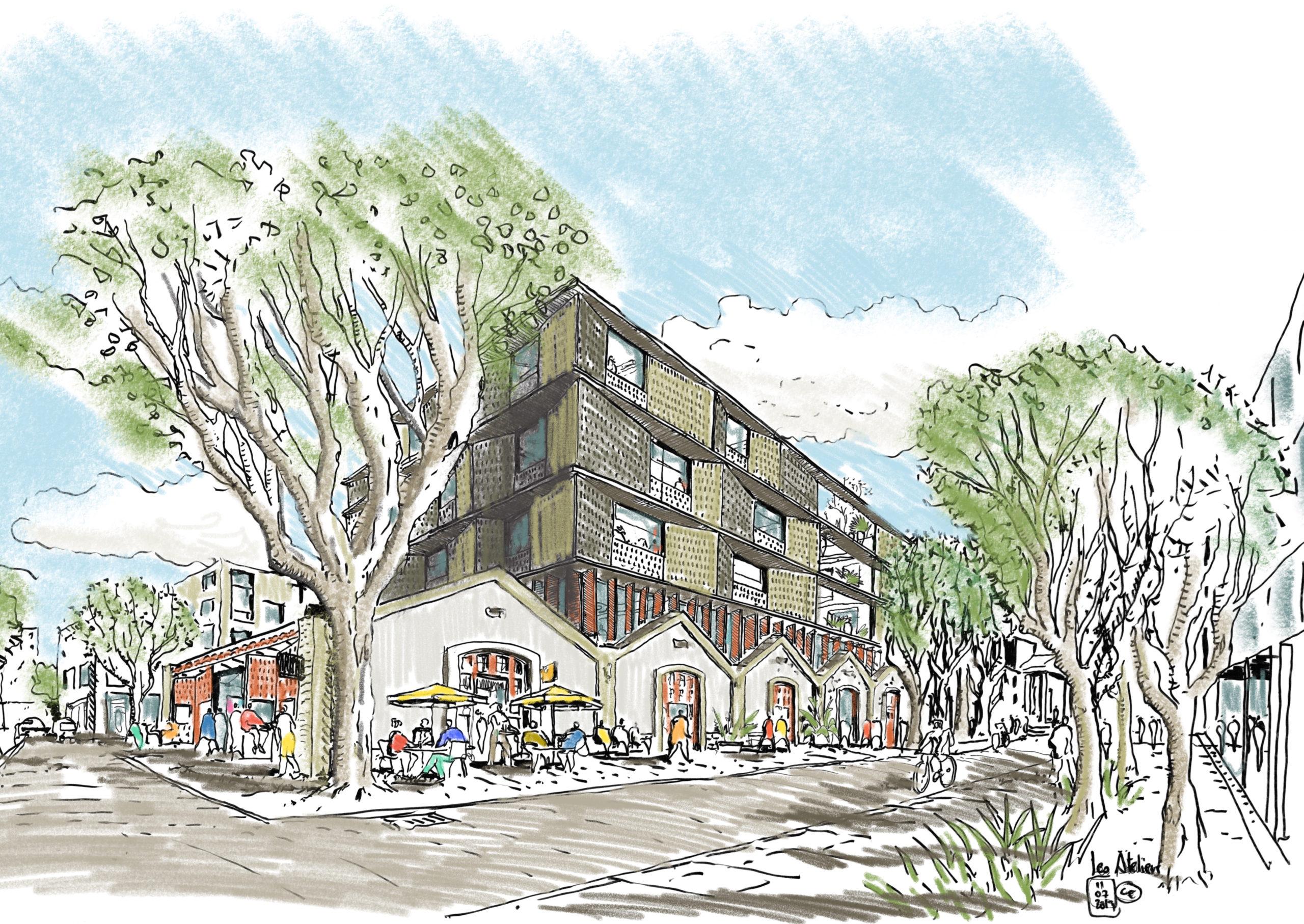 Croquis réalisé par le Studio Egret West, représentant le projet des Ateliers FM dans la futur cité créative de la ville. Réhabilitation d'un ancien bâtiment de l'EAI à Montpellier.