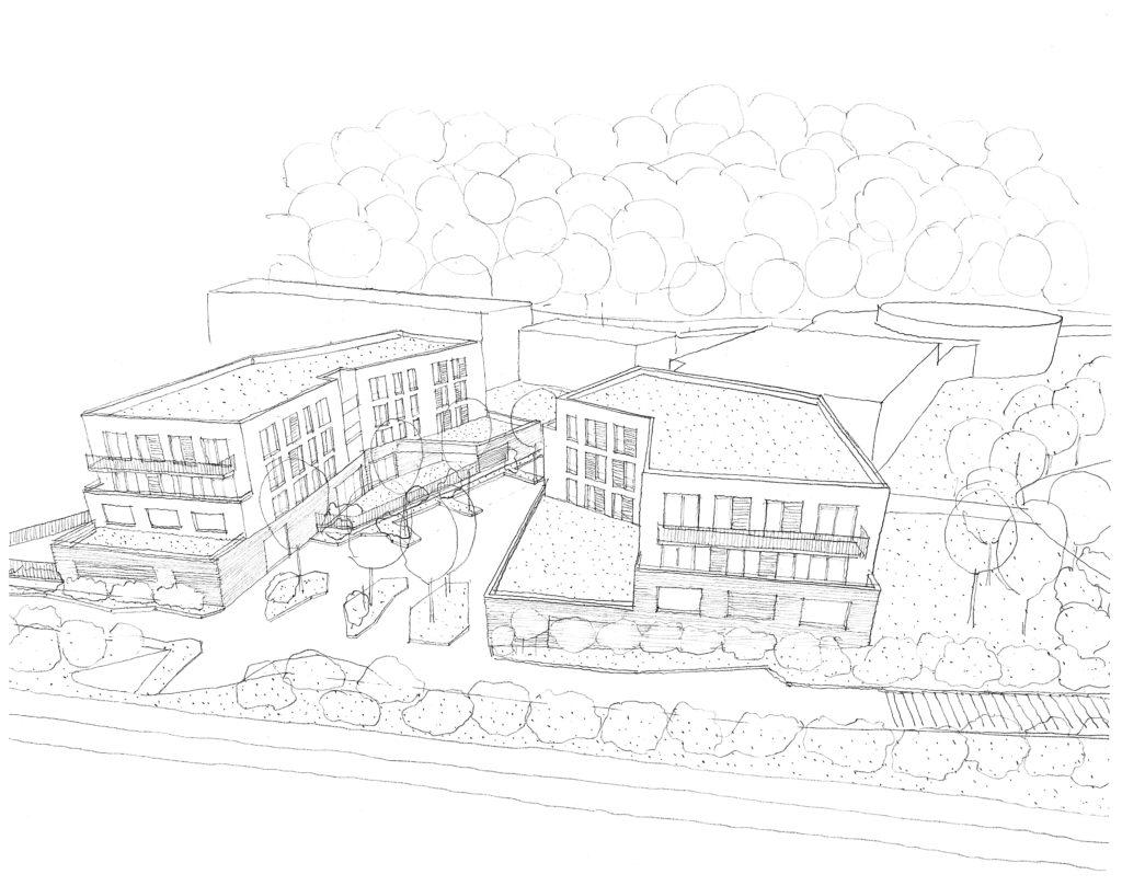 Dessin montrant l'intégration du projet dans son environnement proche et l'articulation les espaces végétalisés entre les deux bâtiments..