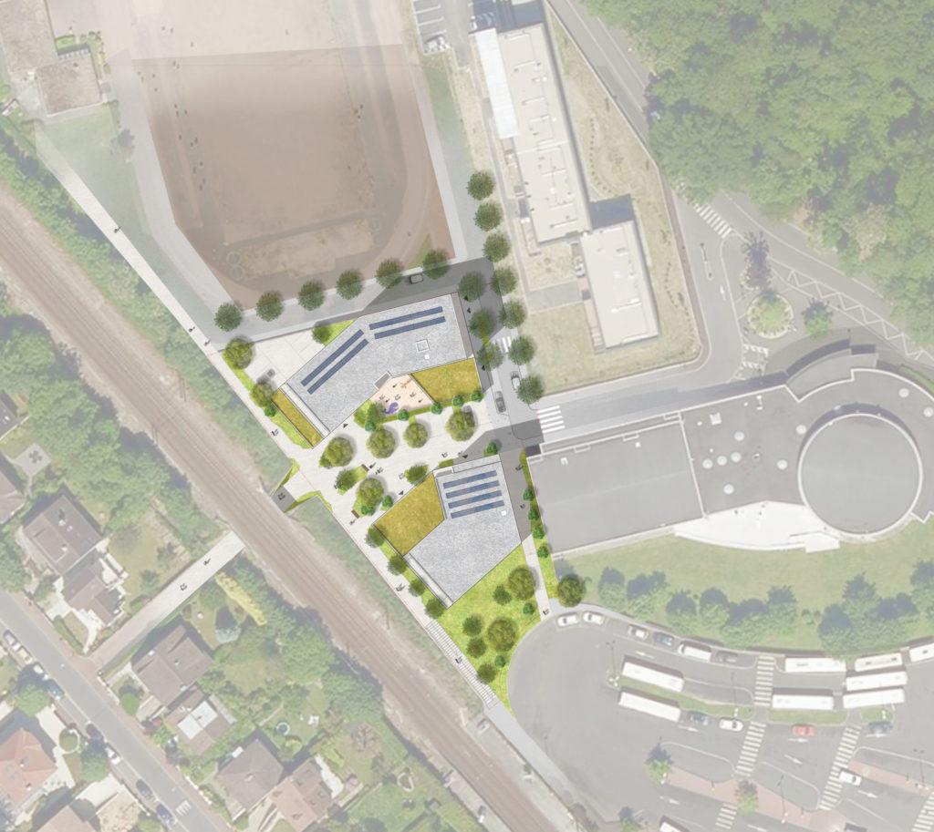 Plan masse du projet situé dans le complexe entre la zone pavillonnaire et la forêt.