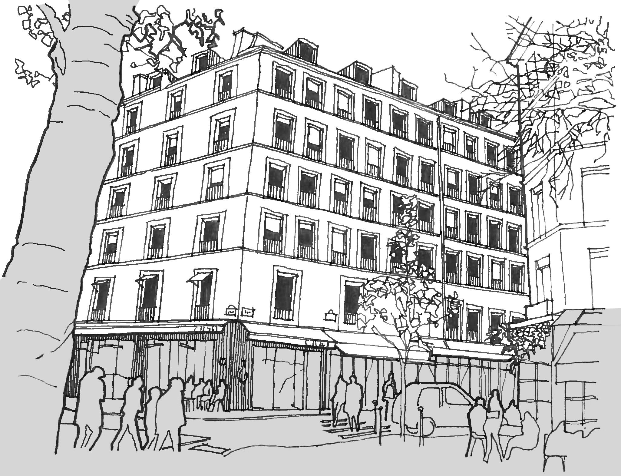 Perspective de l'angle de l'immeuble rénové avec les commerces au rez de chaussée