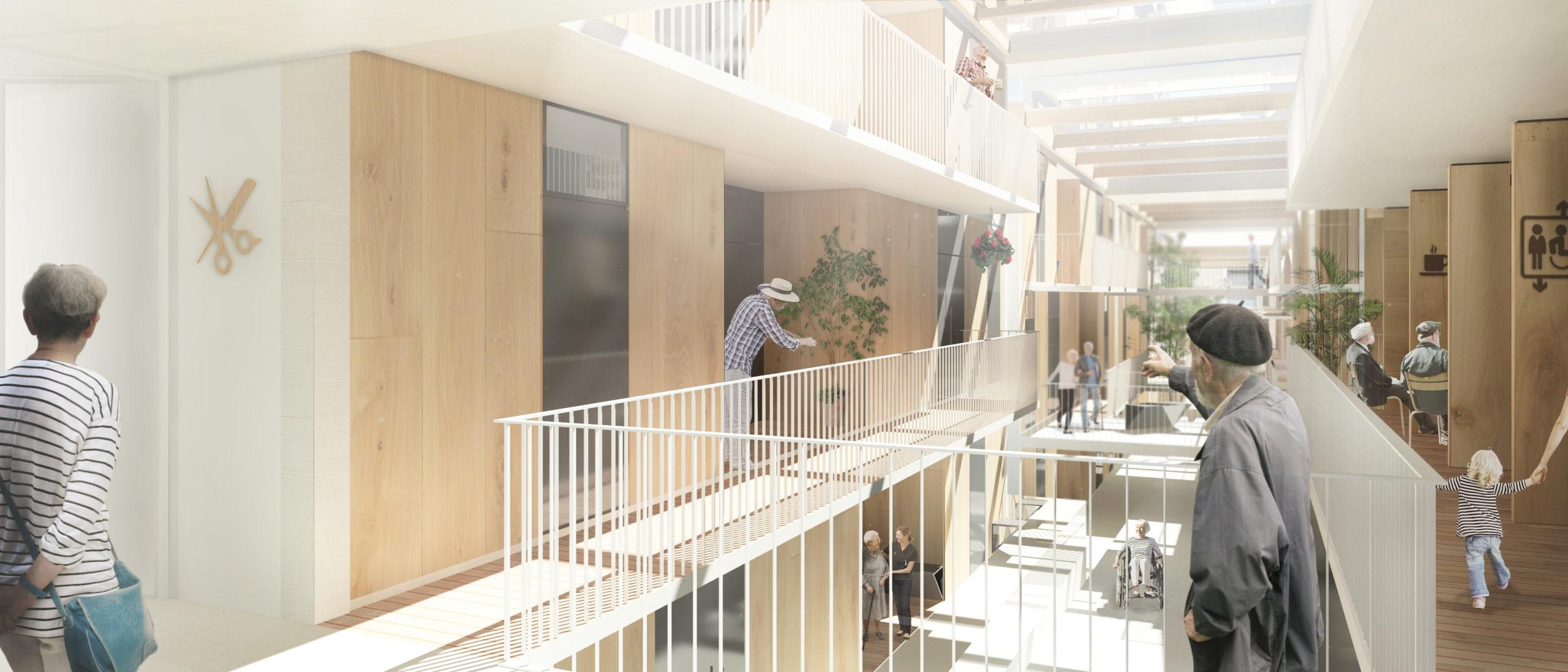 Image de synthèse des parties communes et de circulation de la résidence d'accueil. Les logements sont desservis par des coursives autour d'un puit de lumière central. Les matériaux sont le béton et bois.