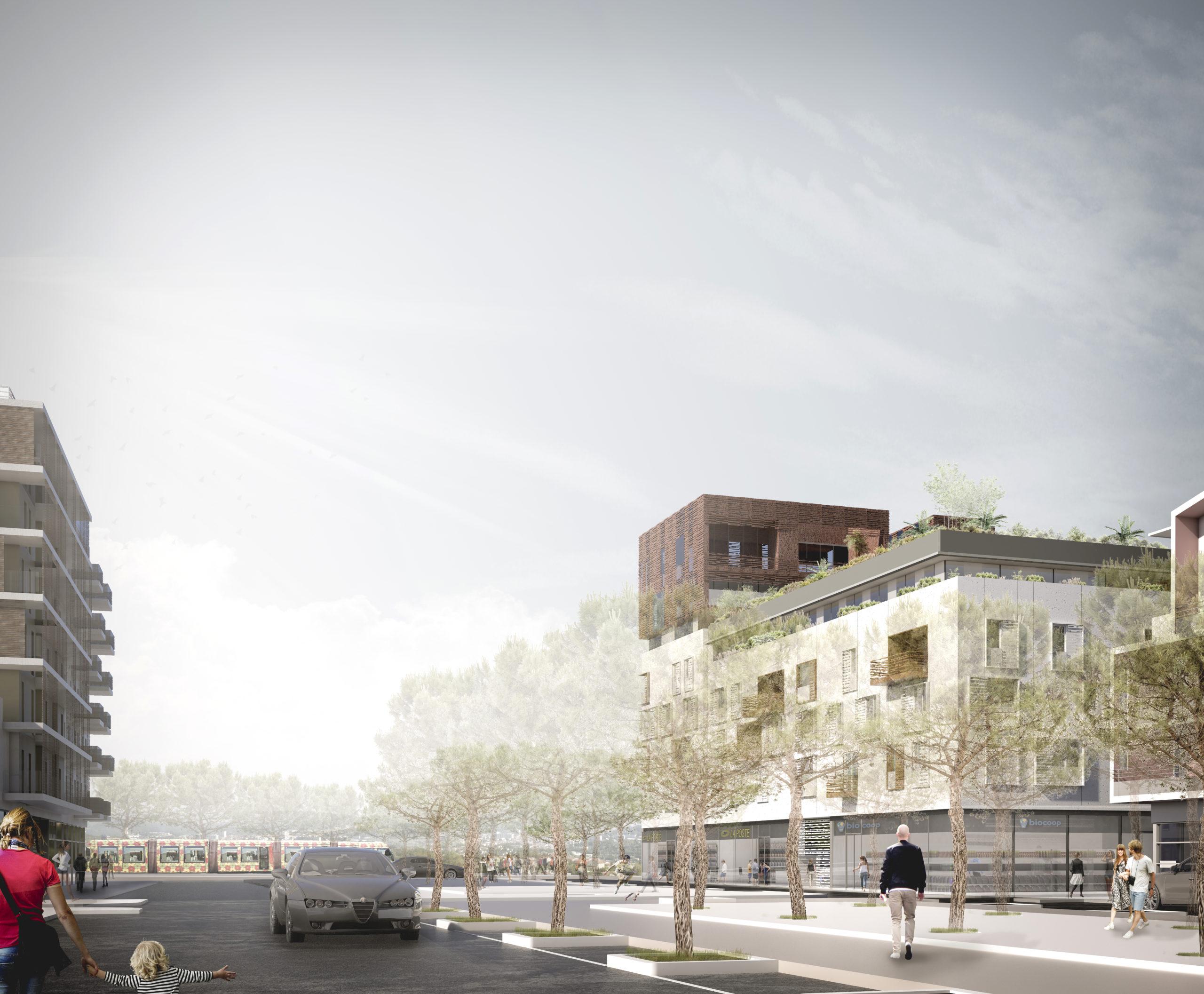 Perspective du bâtiment dans son contexte urbain. Vue depuis la rue dans la ZAC des grisettes à Montpellier.