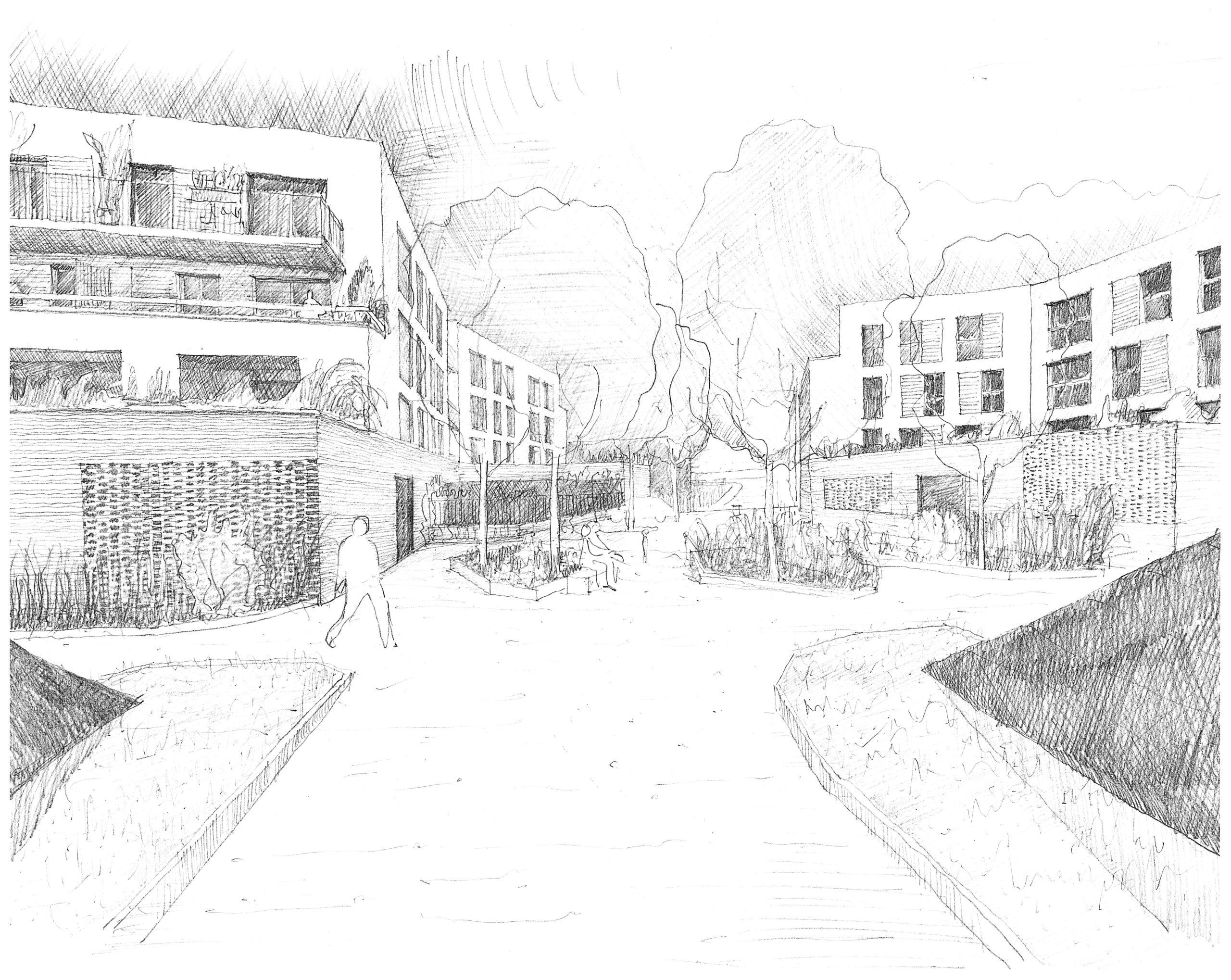 Dessin perspective représentant les espaces végétalisés et les espaces de circulation entre les deux bâtiments brique.
